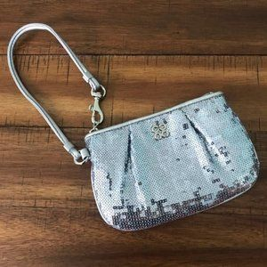 Coach Wristlet Sequins Silver Wallet NWOT New